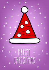 Stylized Santa hat on a colored background with snowflakes