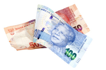 Blue and Red South African Rand Bank Notes