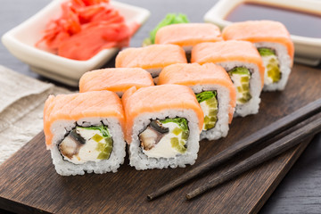 Sushi roll with salmon and eel