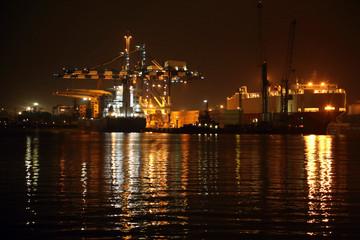 background - night lights port