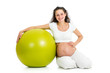 Pregnant woman sitting with gymnastic ball