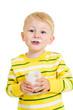kid boy drinking milk or yogurt