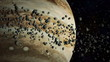 Asteroid in space flying around jupiter