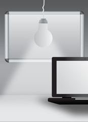 Laptop with bulb and magnetic board