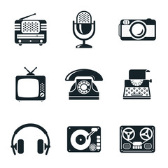 Black and White Vintage Device Icons