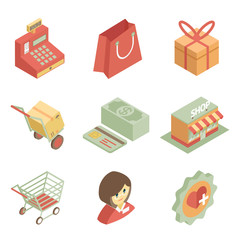 Isometric shopping icons