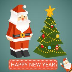 Vector Santa Claus and Christmas tree Icons