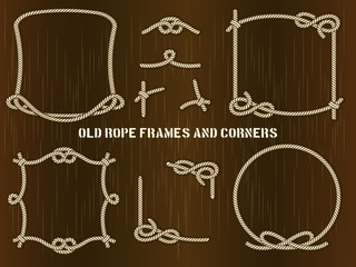 Old Rope Frames and Corners on Brown Background