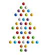 Christbaum aus Weihnachtskugeln