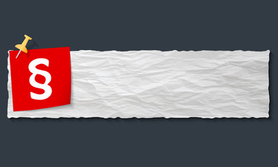 banner with crumpled paper and paragraph
