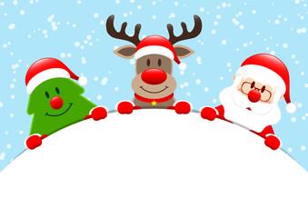 Tree, Rudolph & Santa Round Banner Snow Blue