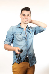 Man with a remote control