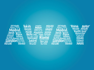 AWAY travel concept made with words cities names, vector collage