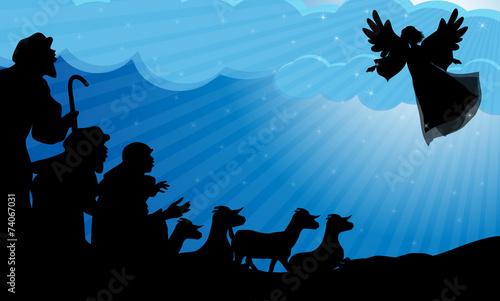 Fototapeta Angel announced to the shepherds the birth of Jes
