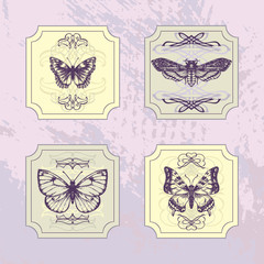Set of vintage labels with butterflies