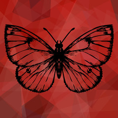 Abstract red geometric background with butterfly