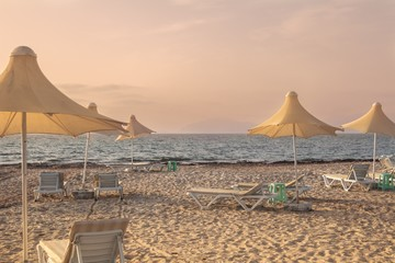 Mediterranean beach during sunset on Kos island