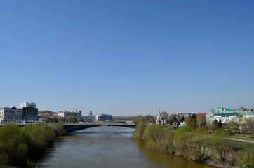 Om River in early spring, the city of Omsk, Siberia, Russia