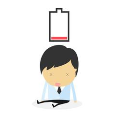 businessman fail. idea concept low battery
