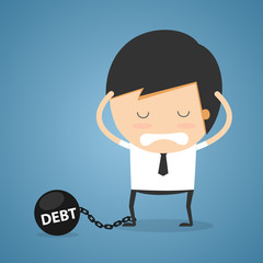 Businessman debt concept
