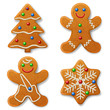 Set of Christmas gingerbread, decorated colored icing - 74069252