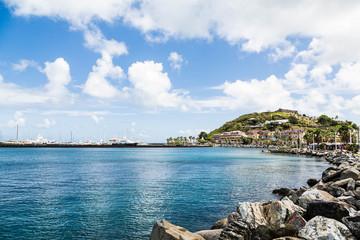 Rock Seawall Toward Caribbean Shopping Mal