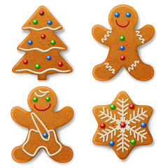 Set of Christmas gingerbread, decorated colored icing