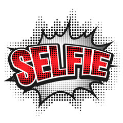 Comic speech bubble, selfie, isolate vector illustration