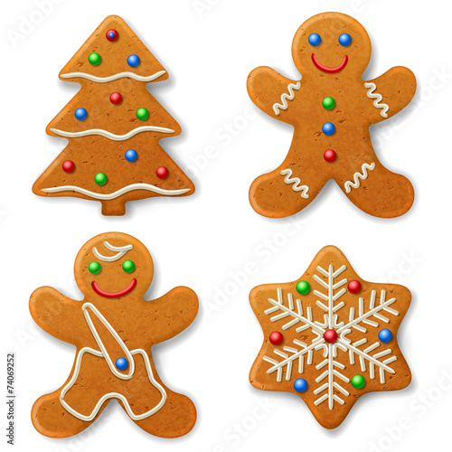 Fototapeta Set of Christmas gingerbread, decorated colored icing