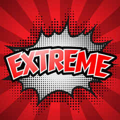Comic Speech Bubble. Red Extreme. Vector illustration