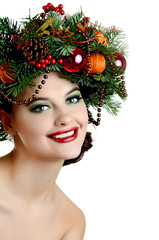 Christmas Woman. New Year and Christmas Hairstyle and Make up
