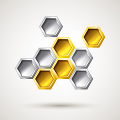 Hexagon silver and gold abstract form