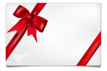Paper card with red bow and place for your text