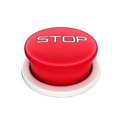 3d shinny and glossy red stop  button