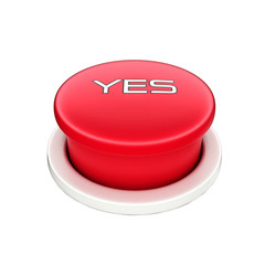 3d shinny and glossy red yes button