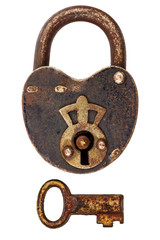 Vintage corroded padlock with key isolated on white