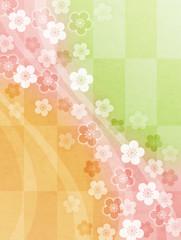 格子柄梅和紙背景