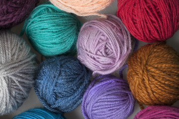 colourful balls of wool yarn