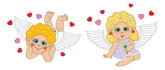 Boy and girl cupid angel. Vector characters Valentine's Day.