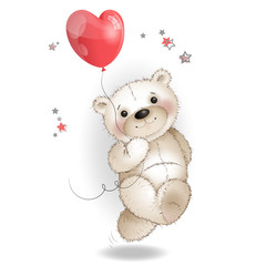 Happy Bear running with a balloon in the shape of a heart