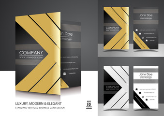 Creative vertical business card design with gold ribbons