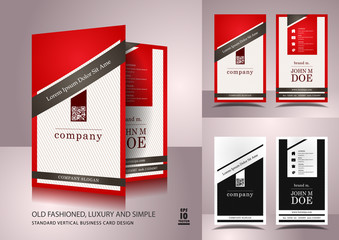 Old fashioned business card design in red and white color