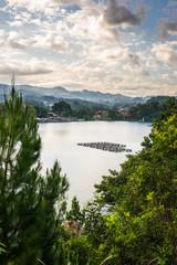 Idyllic cloudscape at lake