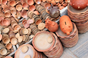 Piggy Banks and other potteries for sale in Kathmandu, Nepal
