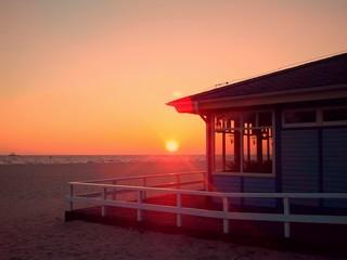 Beach house and sun rise