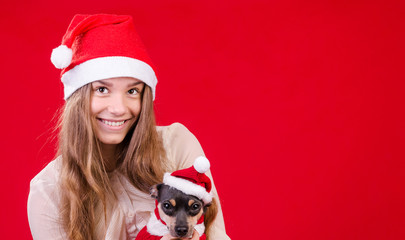 Christmas portrait composition with girl and dog