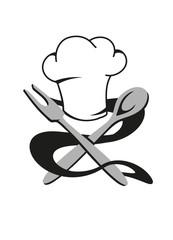 Kochmütze mit Kochlöffel und Bratengabel