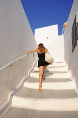Girl and white stairs