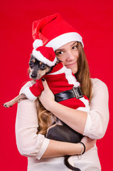 Teen girl and her puppy in Xmas colors