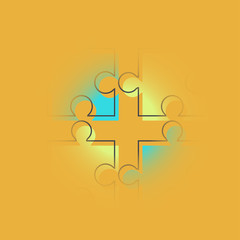 Vector modern puzzle teamwork background